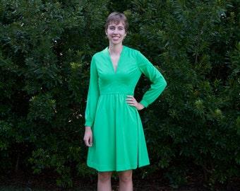 1970s Bright Green V-neck Dress