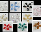 RESERVED for Pat from Patsprettythings ... 14 pcs Austria crystal teardrop beads,  8mm x 6mm ... petite size  item #PTDCB4