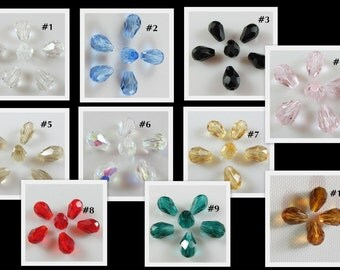 9 pcs Austria crystal teardrop beads, Your choice of mix color group or mix and match your own ... 8mm x 6mm ... petite size  item #PTDCB4
