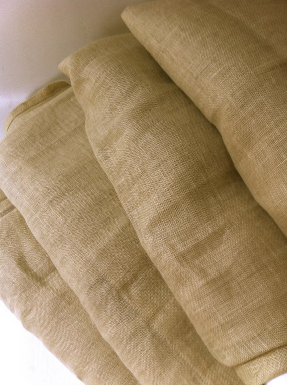 Linen Panels - Four 40 x 84 Flax, Yellow, Neutral Curtains