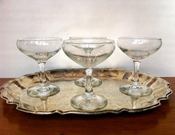 4 vintage champagne coupe glasses. Black Bedroom Furniture Sets. Home Design Ideas