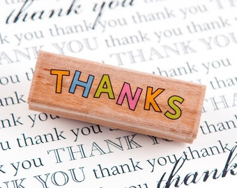 Thanks Outlined Wood Mounted Rubber Stamp