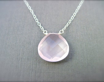 Rose Quartz Necklace in Sterling Silver, Silver Gemstone Necklace, Light Pink Stone, Blush, Bridal Necklace