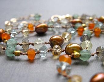 Gemstone and Freshwater Pearl Necklace on Hand Knotted Silk Cord, Carnelian, Labradorite, Aquamarine, Citrine, Prehnite, Aventurine Beads