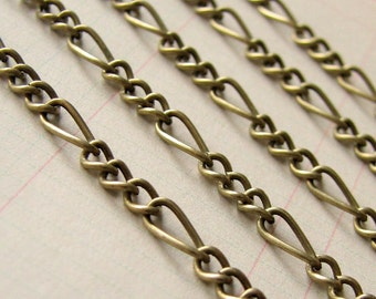 Chain : 5 meters / 16 feet ... Antique Bronze ... Open Link Mother Son Figaro Chain 3.5mm x 7mm x .83mm --  Lead & Nickel free 005.1