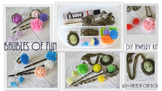SALE DIY Jewelry Kit : 60 pcs - Antique Bronze Bobby Pins . Rings . Resin Flower Cabochons . E6000 . Earrings -- Complete Jewelry Making Kit