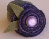 OOAK  Purple Wool Felt Flower Pin Brooch
