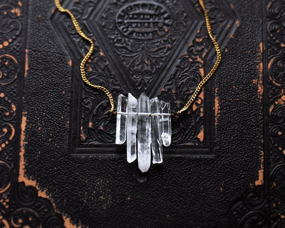 no. 28 - crystal spike and vintage brass necklace