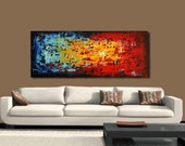 Painting  large abstract painting , abstract art, red blue yellow green original painting  from Jolina Anthony  ,Wall Decor ,