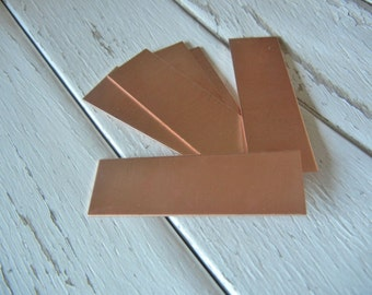 """COPPER Blank - 5/8"""" x 2"""" Metal Blank for Hand Stamped Jewelry-Use on Leather Cuffs or BAR Bracelets- 22gauge - 6 Pack - Metal Stamping Blank"""