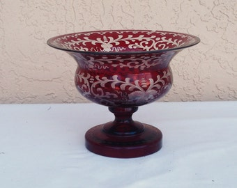 Vintage Art Glass CZECH BOHEMIAN EGERMANN Hand Etched Ruby Red To Clear Pedestal Bowl.