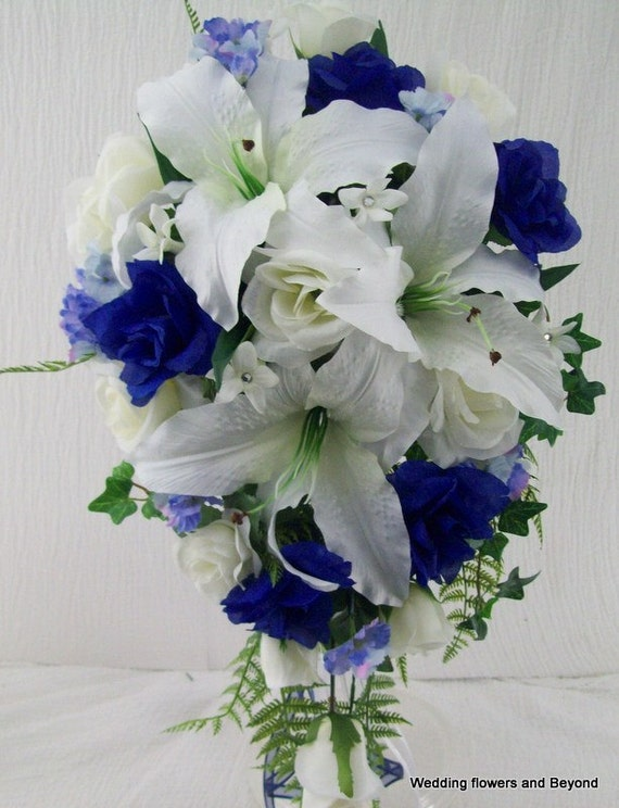 2 Piece Blue and White Wedding Flower Package Casablanca