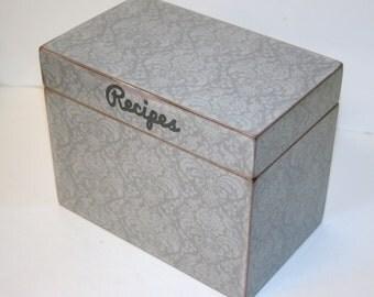 Recipe Box, Grey Damask Recipe Box, 4x6 Recipe Box, Gray Kitchen, Handmade 4 x 6 Wooden Recipe Box, Wedding Guest Book Box, Keepsake Box