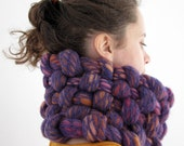 Ajsa woven, felted cowl in violet, orange, pink, mustard, red