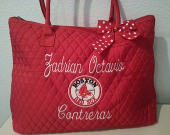 Boston Red Sox Quilted Large Tote Bag Custom Embroidery