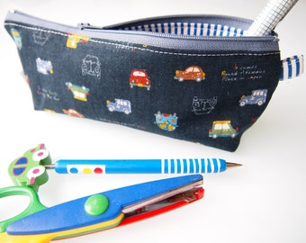 Zippered Pencil Case / Pouch - Navy Cars