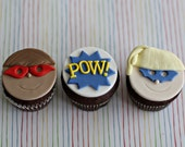 Fondant Superhero Cupcake Toppers for your Little Super Hero Party