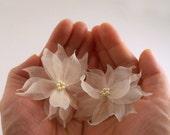 Pure Silk Bridal Hair Flower, Wedding Hair Flower, Bridesmaid Hair Accessory, Ivory Wedding Hair Accessory, SWAROVSKI Pearl Hairpins