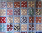 Antique Vintage X BLOCK Quilt - Simply Beautiful - Vibrant and Colorful