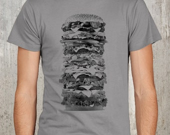 Men's T-Shirt  - Giant Hamburger - Screen Printed American Apparel - Available in S, M, L, XL and 2XL