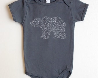 Hand Drawn Bear Made of Triangles - American Apparel Baby One Piece - Available in 3-6MO, 6-12MO and 12-18MO