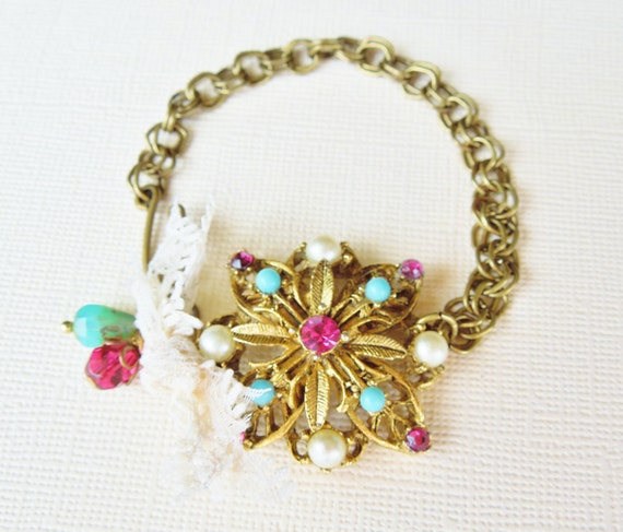 Vintage Turquoise, Ruby and Pearl Brooch Bracelet - Vintage, Upcycled, Repurposed Jewlery, Shabby Chic, Boho, Bright Colors
