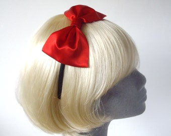 Red Headband, Red Bow Headband, Red Bow Aliceband, Red Hair Bow, Red Hair Accessories