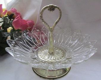 Federal Glass Petal Tidbit Tray Bowl w/ Handle Vintage