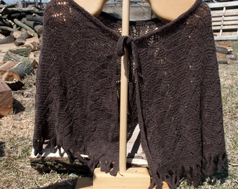 SALE: Shawl, Caplette, Fling, Handknit Lace in Mooi a Bison and Cashmere Original Design OAK