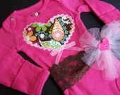 Heart baby girl onesie Pink and brown Paisley Heart Onesie with headband for baby girl Newborn size