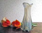 Vintage Opalescent Art Glass Vase