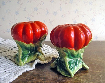 Rare Vintage Tomato Salt & Pepper Shakers