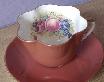 Antique Crown Staffordshire English tea cup, hand painted fruit artist signed Bailey tea cup and saucer set, brown bone china tea set