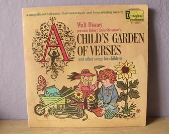 Vintage 1970's Disney Child's Garden of Verses album lp, poetry, Victorian children bedroom decor, train sailboats art prints
