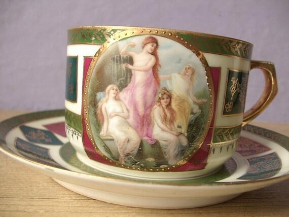 Antique Japanese Porcelain Tea Cups Antique Hand Painted Tea Cup