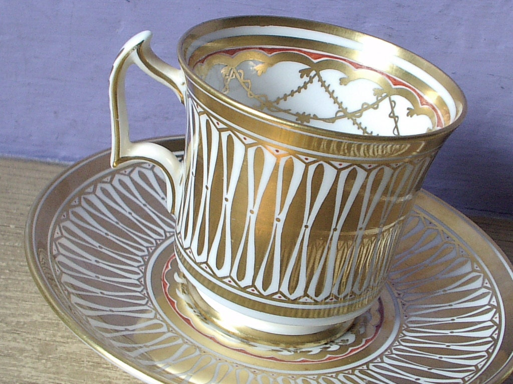 antique gold tea cup and saucer set royal chelsea by shoponsherman. Black Bedroom Furniture Sets. Home Design Ideas
