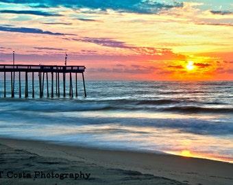 Beach Sunrise Wall Art, seascape photography print, Beach theme, East Coast, Photo of sunrise, blue, yellow, orange