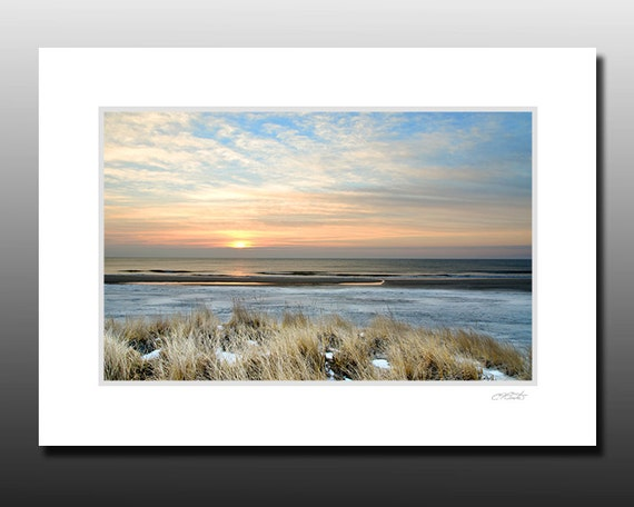 Beach wall art, Winter Beach Sunrise, blue, brown, Signed Matted Print, Ready for framing