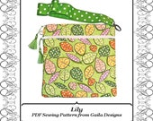 """iPad Mini PDF Pattern Cover for Kindle Fire Nook 7"""" tablets eReader square case with wristlet, zipper pocket, padding, lined """"Lily"""""""