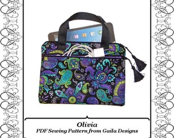 "iPad Mini case cover PDF sewing pattern Kindle Fire HD 7"" display tablet sleeve with handles padded fully lined zipper ""Olivia"""