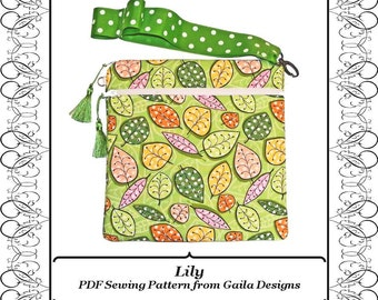 "iPad Mini PDF Pattern Cover for Kindle Fire Nook 7"" tablets eReader square case with wristlet, zipper pocket, padding, lined ""Lily"""