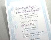 Beach Wedding Invitation Starfish Sea Shells Teal Blue Deep Purple Traditional Wedding Classic Custom Invite Seaside Beachcomber