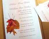 Fall Wedding Invitation Custom Pocketfold Elegant Autumn Leaves Rust Brown Copper Red Traditional Leaf Bouquet Grasses Satin Ribbon Wrap