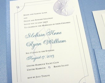 Beach Wedding Invitation Pocketfold Elegant Blue Sand Dollar Classic Sea Shore Beachcomber Traditional Wedding Invite