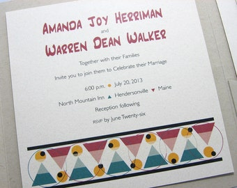 Modern Wedding Invitation Recycled Square Pocketfold Bold Contemporary Tribal Design Deep Red Green Gold Custom Invite 100% Recycled Stock