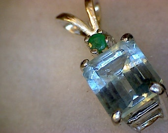 Amazing Colorado Aquamarine and Emerald Pendant