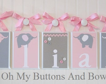 Hanging Name Letters. Nursery Name Blocks . Nursery Name Decor . Baby Name Blocks . Hanging Name Blocks . Elephants . Pink Gray White