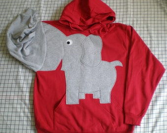 Elephant sweatshirt with an elephant trunk sleeve, elephant HOODIE, elephant shirt, Bright Red, UNISEX adult small, Republican