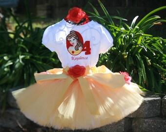 Belle Birthday Tutu 3 piece outfit: Tutu, Embroidered Shirt, Headband