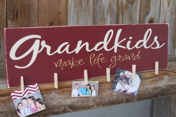 Grandkids Make Life Grand Wood Sign For Hanging By Invinyl